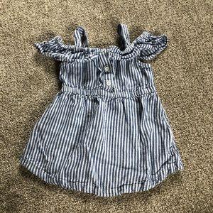 Toddler girl striped linen blend off the shoulder